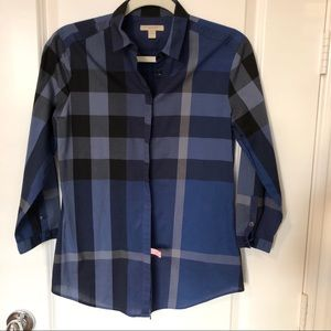 Burberry Brit Blue Plaid Check Shirt Size S
